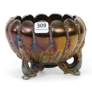 Rose Bowl, Carnival Glass, Northwood's Leaf & Beads