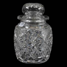 Humidor, American Brilliant Cut Glass, Signed Hawkes