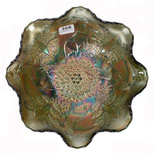 Bowl, Carnival Glass, Stag & Holly By Fenton