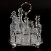 Castor Set, Brilliant Period Cut Glass, (7) Cane