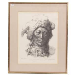 """Original Framed Lithograph Titled """"Blackfeet"""""""