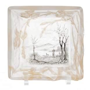 Ash Tray Signed Daum Nancy French Cameo Art Glass