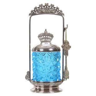 Victorian Pickle Castor, Blue Button & Daisy Insert