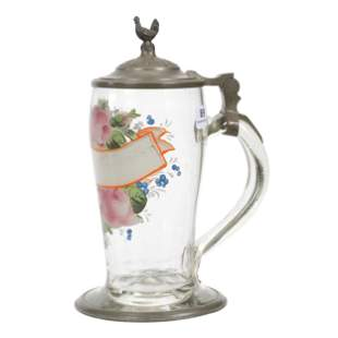 Stein, Early German Clear Crystal, Pewter Fittings