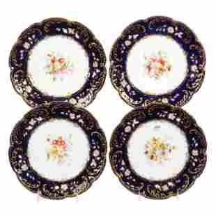 (4) Plates, Unmarked English Porcelain