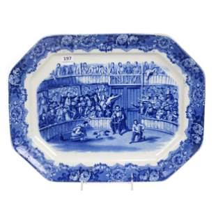 "Tray, Flow Blue Titled ""Spanish Festivities 1798"""