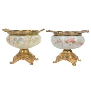 (2) Pedestal Pin Dishes, Unmarked Wave Crest