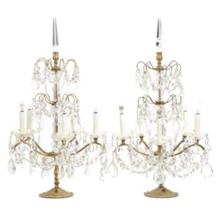 Pair Five Arm French Candelabra, Electrified