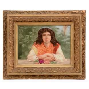 Framed French Porcelain Portrait Plaque, Unmarked
