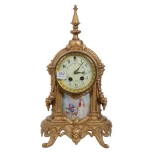 Clock, Gilbert Clock Works, Gilt Metal Case