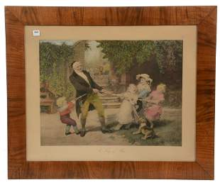"""Framed Lithograph Titled """"A Tug Of War"""""""