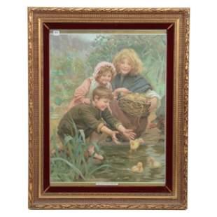 "Framed Print Titled ""Their First Swim"""