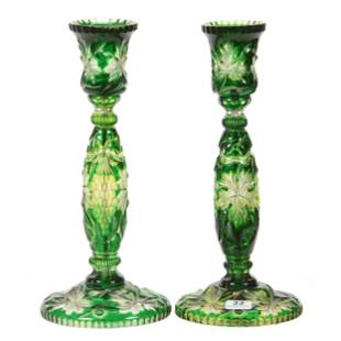 Pair Candlesticks, BPCG, Green Cut To Vaseline To Clear