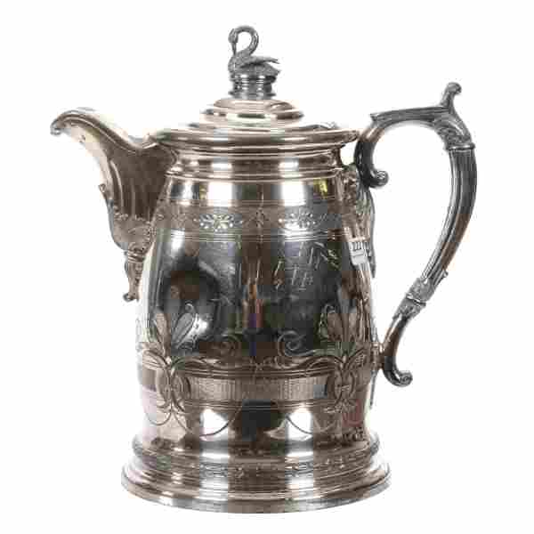 Victorian Silverplate Double Walled Pitcher and Lid