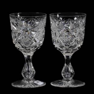 Pair Goblets, ABCG, Signed Libbey Colonna Pattern