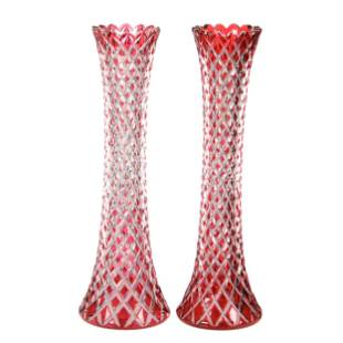 Pair Vases, BPCG, Cranberry Cut To Clear