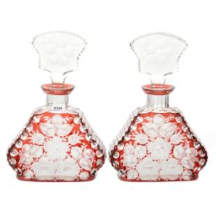 (2) Decanters, BPCG, Ruby Cut To Clear
