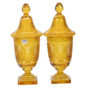 Pair Covered Urns, BPCG, Solid Gold Color