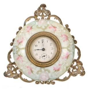 Easel Clock, Wave Crest (Stamp Mark) Art Glass