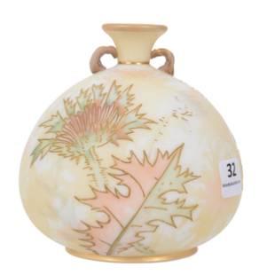 Vase, Mt Washington Crown Milano/Albertine Art Glass