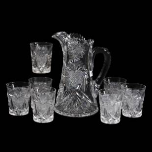 Water Set, ABCG, Signed Pitkin And Brooks Heart Pattern