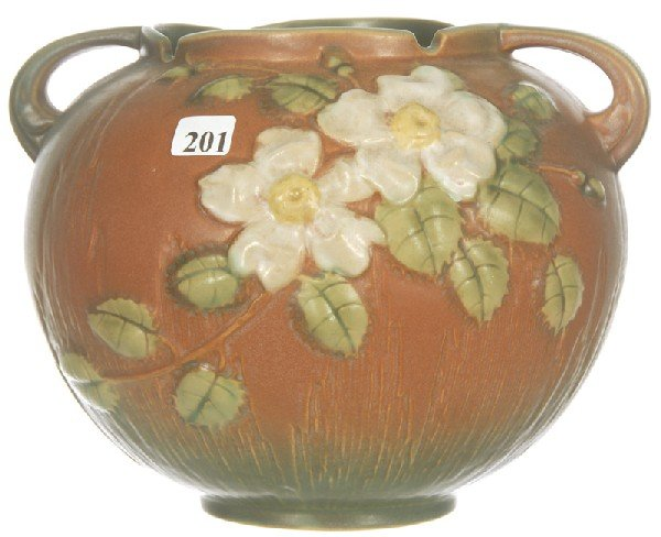 "201: ROSEVILLE #388-7"" TWO HANDLED BALL SHAPED VASE"