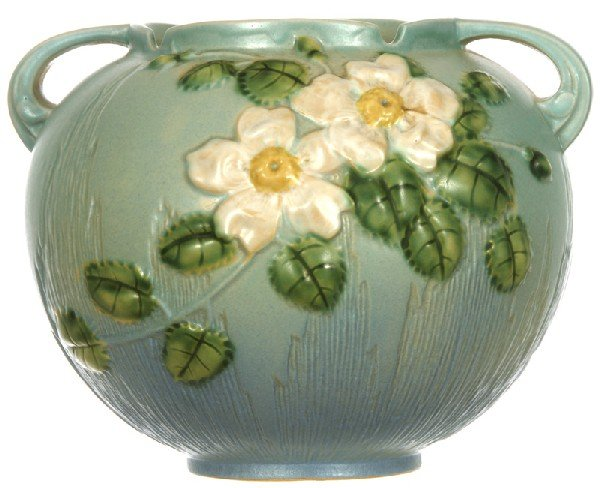 "212: ROSEVILLE #388-7"" TWO HANDLED BALL SHAPED VASE"
