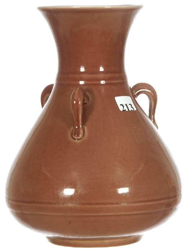 "213: 9"" TRENTON POTTERY THREE HANDLED TEARDROP SHAPED V"