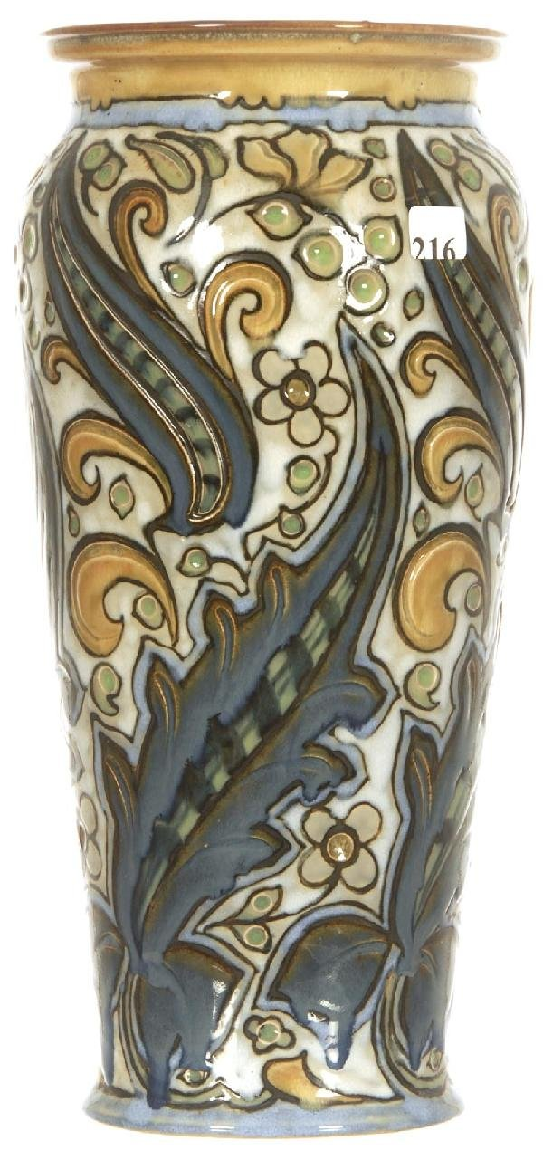 "216: 13 1/2"" ROYAL DOULTON ART DECO VASE"