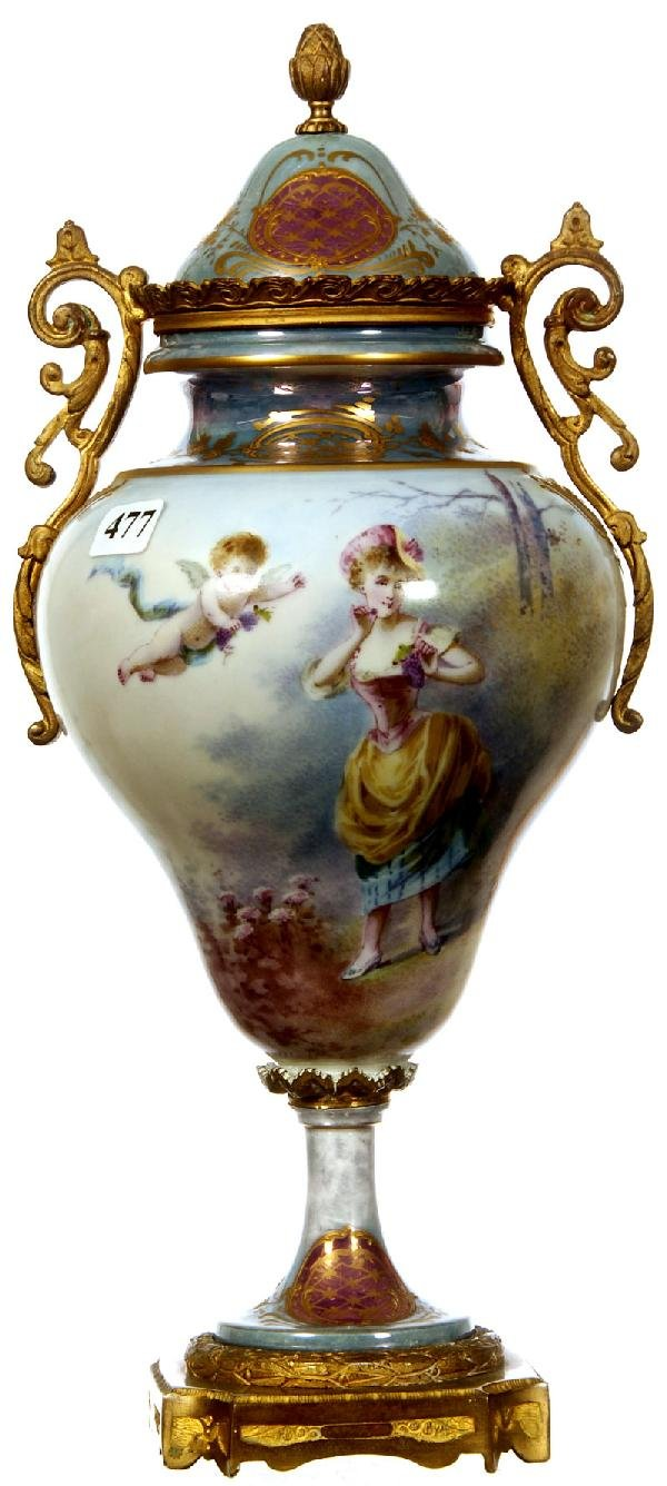 "477: EXTRA NICE 14 1/2"" SEVRES PEDESTAL COVERED URN"