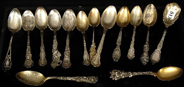 13: (14) STERLING SILVER TEASPOONS INCLUDING