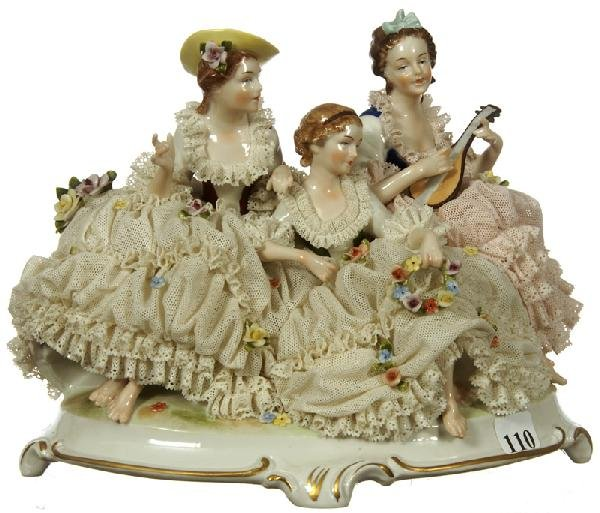 """110: 7 1/2"""" X 10"""" FIGURAL GERMAN LACE GROUP"""