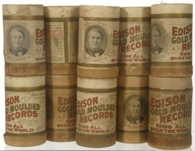 (10) ORIGINAL EDISON AMBEROL CYLINDER RECORDS IN CAS