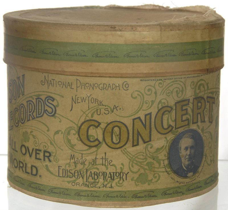 """5: ORIGINAL """"CONCERT"""" SIZE PHONOGRAPH CYLINDER IN BOX"""