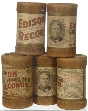7: (5) ORIGINAL EDISON AMBEROL CYLINDER RECORDS IN CASE