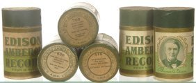(6) ORIGINAL EDISON AMBEROL CYLINDER RECORDS IN GREE