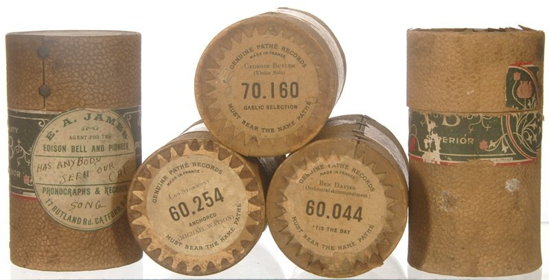 """11: (5) ORIGINAL FRENCH """"PATHE"""" CYLINDER RECORDS"""