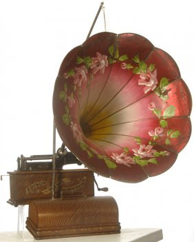 """20: EDISON """"HOME"""" PHONOGRAPH CYLINDER PLAYER W/ CASE CO"""