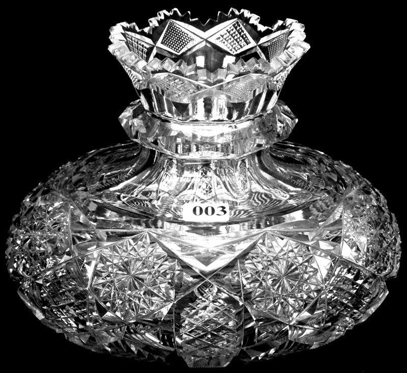 "3: 5 3/4"" X 8"" AMERICAN BRILLIANT CUT GLASS FLOWER CENT"
