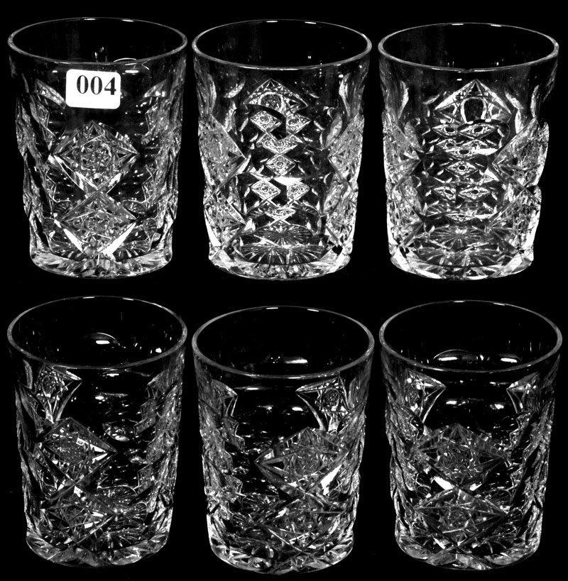 "4: (6) 4 3/4"" AMERICAN BRILLIANT CUT GLASS TUMBLERS"