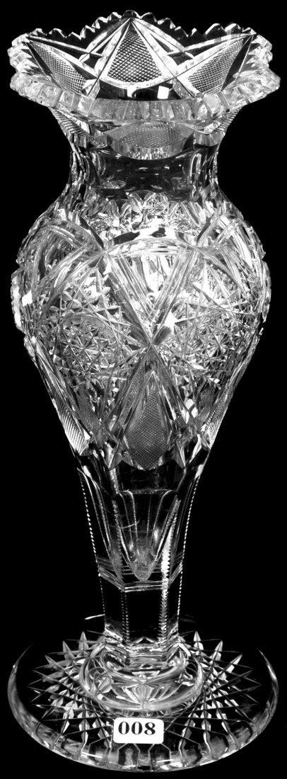 "8: 12 1/4"" SIGNED J.HOARE AMERICAN BRILLIANT CUT GLASS"