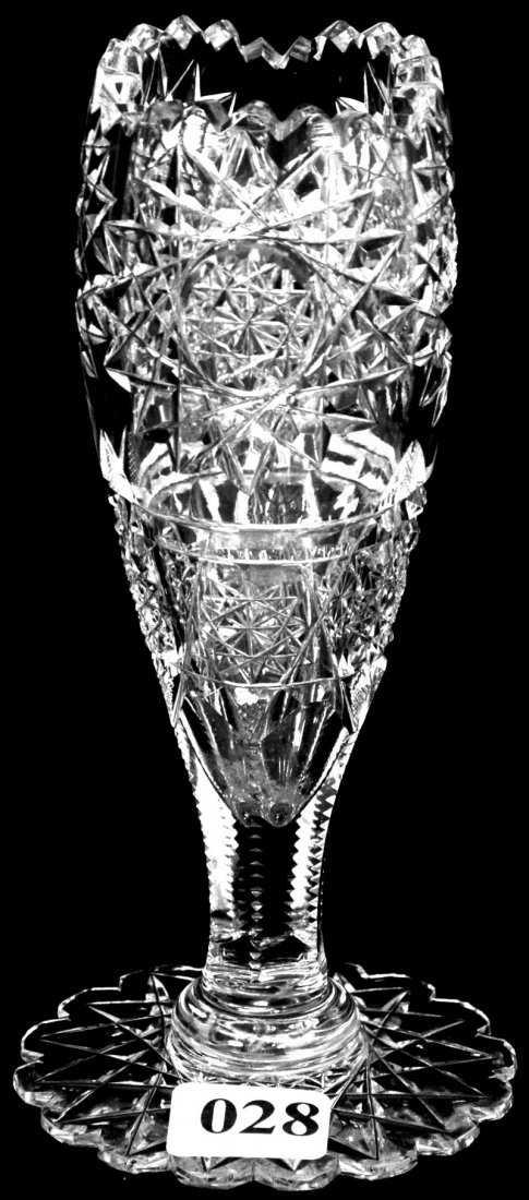 28 6 American Brilliant Cut Glass Tulip Shaped Vase