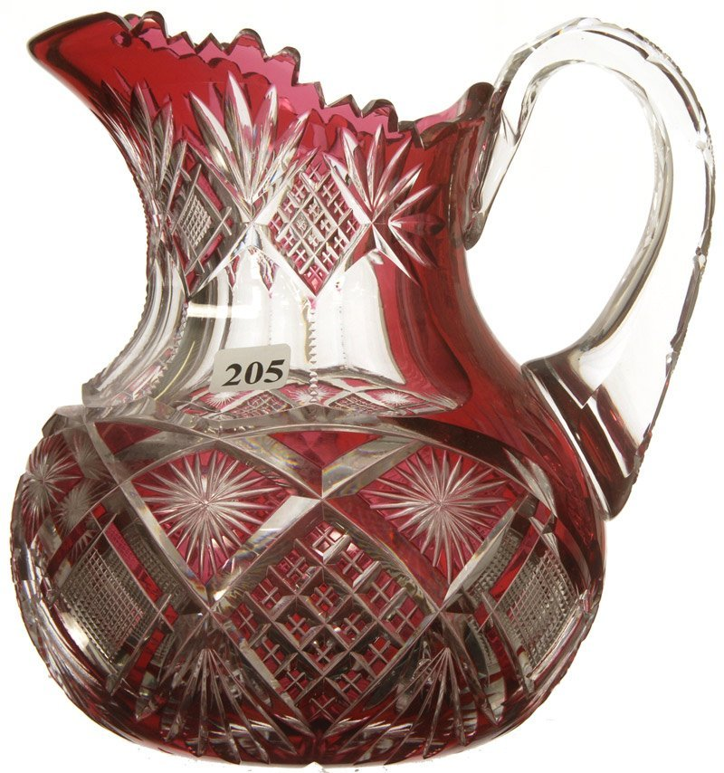 """205: 8 1/4"""" AMERICAN BRILLIANT CUT GLASS CRANBERRY CUT"""