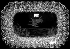 "251: 12"" X 9"" SIGNED HAWKES AMERICAN BRILLIANT CUT GLAS"