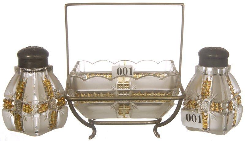1: KLONDIKE PATTERN GLASS S & P SHAKERS & MATCHING DISH