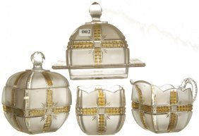 2: KLONDIKE PATTERN GLASS FOUR PIECE TABLE SET
