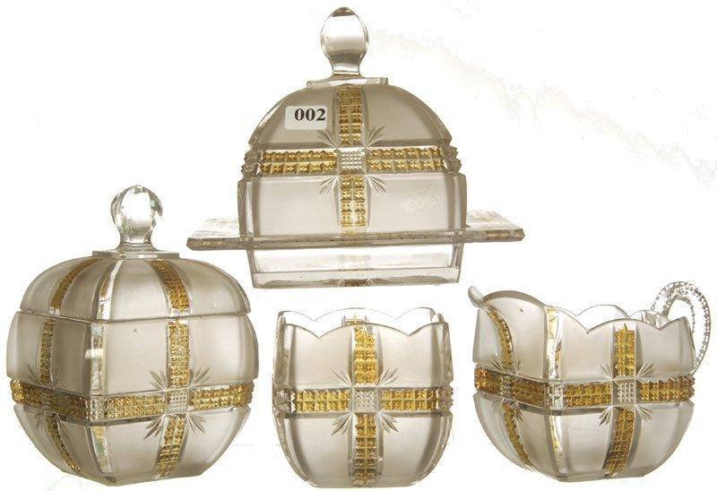2: KLONDIKE PATTERN GLASS FOUR PIECE TABLE SET