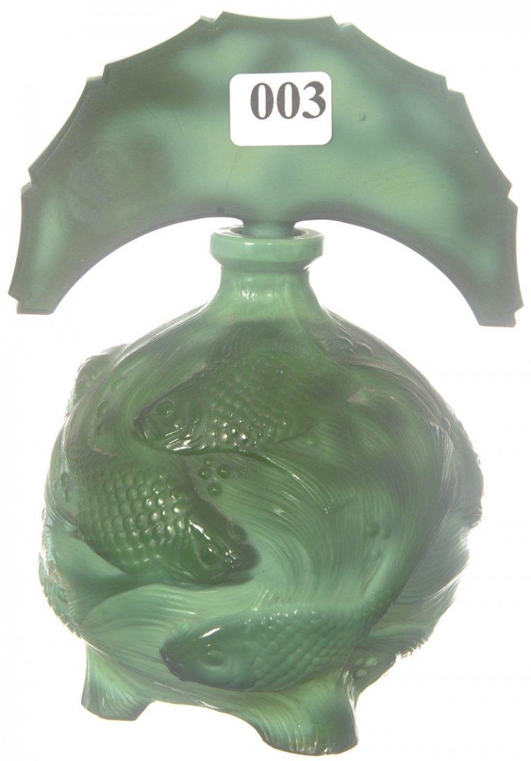 "3: 6 1/4"" X 4 1/2"" GREEN MALACHITE EMBOSSED ART GLASS P"