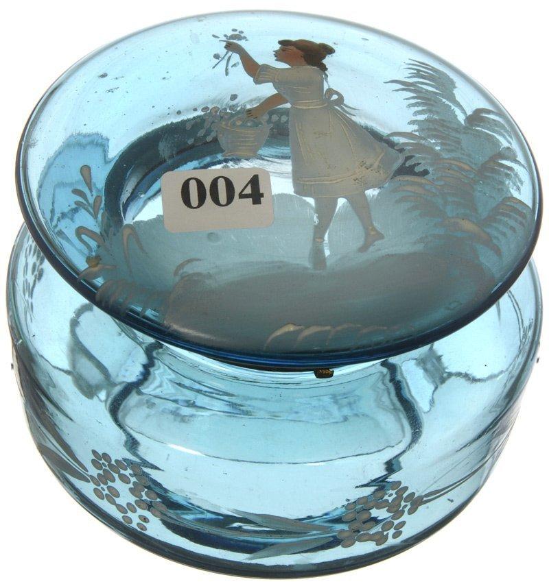 "4: 3 1/2"" X 4 1/2"" BLUE ART GLASS ROUND HINGED JEWEL BO"
