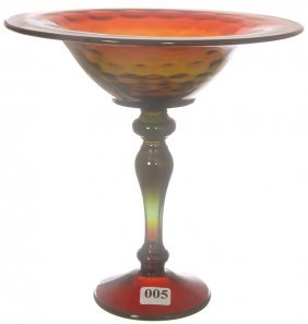 "8 1/4"" X 8 1/4"" WATERMELON COLORED ART GLASS COMPOTE"